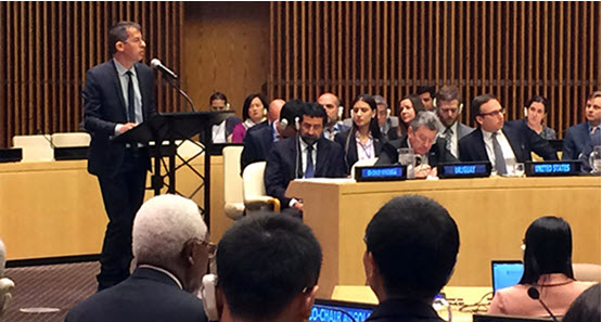 B'Tselem director Hagai El-Ad speaks at a special UN Security Council meeting held in New York last Friday, October 14.