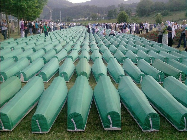 The mass funeral of 775 Muslims victims of the Srebrenica massacre in 2010