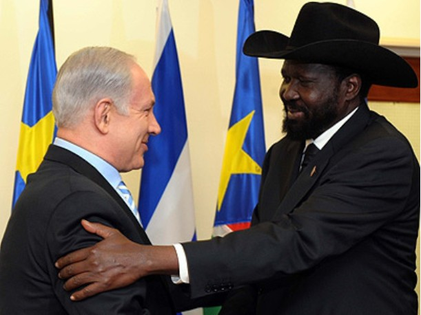 President of South Sudan Salva Kiir Mayardit with Prime Minister Benjamin Netanyahu during a visit to Israel