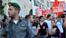 Israeli communists demonstrate in West Jerusalem against the occupation of the Palestinians territories.