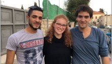 "Occupation objector, Tamar Alon, who has refused military conscription is flanked by Arab Aramin, left, and Yigal Elchanan, right, each of whom is the bereaved brother of a young girl, one Palestinian the other Israeli, during in the continuing cycles of violence. For Tamar, the testimonies of both Arab and Yigal during the tenth Israeli-Palestinian memorial ceremony this past spring constituted ""the defining moment in which I realized that I must refuse."""