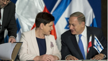 Polish premier Beaty Szydło and Israeli PM Benjamin Netanyahu during which they signed the joint statement on Tuesday, November 22, in Jerusalem