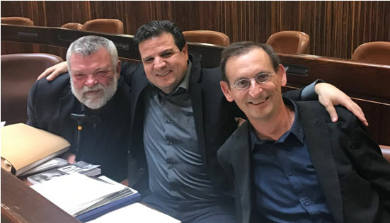 From left to right, MKs Gilon, Odeh and Khenin in the Knesset after the bill's passage in its first reading