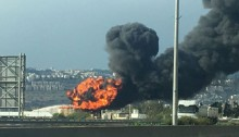The gasoline tank in flames at the Haifa oil refinery, December 25, 2016