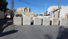 Roadblock on al-Madares Street in the East Jerusalem neighborhood of Jabal al-Mukabber, put in place after Fadi al-Qunbar, a resident, rammed his truck into a group of Israeli soldiers, killing 4 and injuring 15, January 8, 2017.
