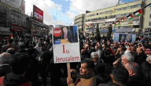 Demonstrators in Ramallah's Menara Square protesting on Thursday, January 19, against the incoming President Trump and his plans for the US embassy in Israel.
