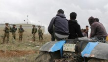 "January 26, 2017: Israeli soldiers harass Palestinian farmers planting olive trees and tilling soil in the village of Asira Al-Qibliya, near Nablus, to protest the recent Israeli military order that would confiscate about three dunams of privately owned Palestinian lands for ""security reasons"" for the nearby Israeli settlement of Yitzhar."