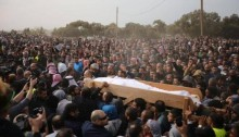 Thousands take part in the funeral of Yakoub Abu Al-Qian, who was killed on January 18, 2017 by Israeli police during the house demolition operation in Umm el-Hiram.