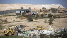 Bulldozers demolish houses and agriculture structures in the unrecognized Bedouin village of Umm al Hiran, Negev desert, Israel, January 18, 2017.