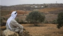 A Palestinian farmer viewing the outpost settlement of Adei Ad