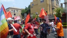 Hadash activists during a Gay Pride parade in Haifa