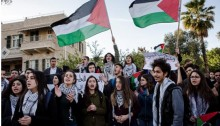 Arab-Palestinian students from Israeli high school protest in downtown Haifa the demolition of homes in Arab communities in Israel, January 24, 2017.