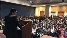 MK Ayman Odeh addresses J Street students at the organization's 2017 National Conference in the Washington Convention Center