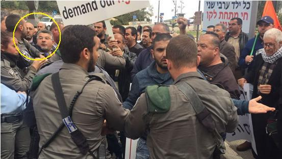 Special forces from Israel's Border Police suppressing the demonstration against house demolitions and for housing rights held in Jerusalem on Tuesday, March 14. In the circle, MK Yousef Jabareen as he is being assaulted by a border policeman.