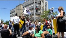 IBA workers protesting last week outside the headquarters of Israel Television in Romema, Jerusalem