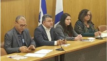 Chairs of the conference against racism, from left to right: Attorney Nidal Othman and MKs Jabareen, Biran and Touma-Sliman