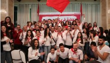 Joint List chairperson, MK Ayman Odeh (Hadash; back row center) with activists from the Young Communist League in Israel (Banki-Shabiba) during the opening festive session of the 9th Hadash Conference, April 7, 2017.
