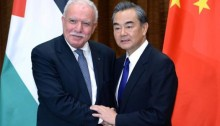 Palestine's Foreign Minister Riyad al-Maliki and China's Foreign Minister, Wang Yi on Thursday, April 13, in Beijing