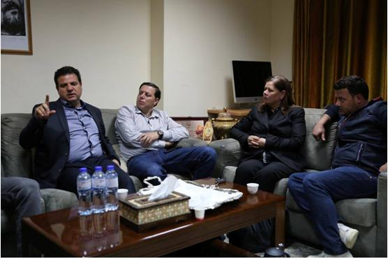 MK Ayman Odeh during a meeting with Fadwa Barghouti, the wife of Marwan Barghouti, his lawyer Elias Sabag and the team for the struggle for prisoners in Ramallah