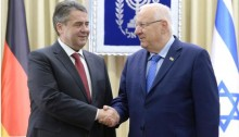 President Reuven Rivlin met Tuesday afternoon at his residence in Jerusalem with German Foreign Minister Sigmar Gabriel, following the cancelation of the latter's meeting with Prime Minister Netanyahu