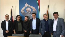 Participants at a meeting held in Ramallah last Monday, April 24, in solidarity with hunger-striking Palestinian prisoners in Israeli prisons; from left to right: Attorney Elias Sabag, MK Touma-Sliman, Fadwa Barghouti, MK Ayman Odeh, MK Youssef Jabareen and prisoner committee activist Kadura Fares