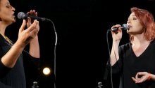 Achinoam Nini and Mira Awad singing during the Alternative Joint Israeli-Palestinian Memorial Day Ceremony held in Tel Aviv on Sunday, April 30