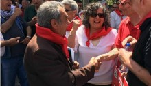 MK Aida Touma-Sliman (center) with MK Dov Khenin (right) and former Secretary General of the Communist Party of Israel, Muhammad Nafah (left), after the May Day rally held last Saturday in Nazareth