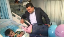 MK Jabareen at the bedside of Ahmad Dawabsheh, during the little boy's hospitalization at the Rabin Health Center in Israel