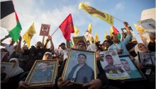 Thousands of Palestinians rally in solidarity with the hunger-striking Palestinian prisoners in Israeli prisons, Nelson Mandela square, Ramallah, West Bank on Thursday, May 4.