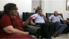 The CPI delegation in Cuba; from left to right: Aida Touma-Sliman, Adel Amer and Salam Bilal.