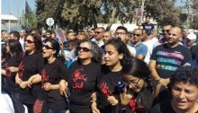 MK Touma-Sliman (fourth from right) during a demonstration against murder of women
