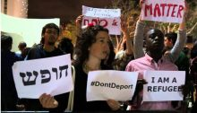 A demonstration for asylum seekers rights in Tel Aviv