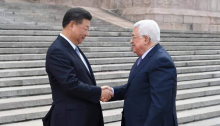 Chinese President Xi Jinping and Palestinian President Mahmoud Abbas in Beijing