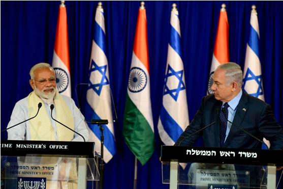Indian Prime Minister Narendra Modi and Israeli Prime Minister Benjamin Netanyahu during a press conference in Jerusalem