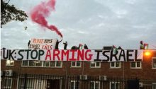 BDS activists in England protest against Elbit, an Israeli company that supplies advanced airborne systems and products to military aircraft manufacturers