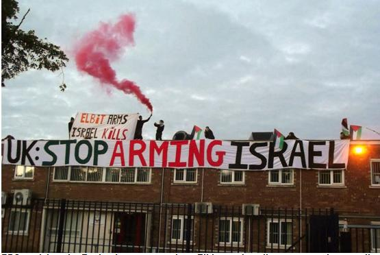 BDS activists in England protest against Elbit, an Israeli company that supplies advanced airborn systems and products to military aircraft manufacturers
