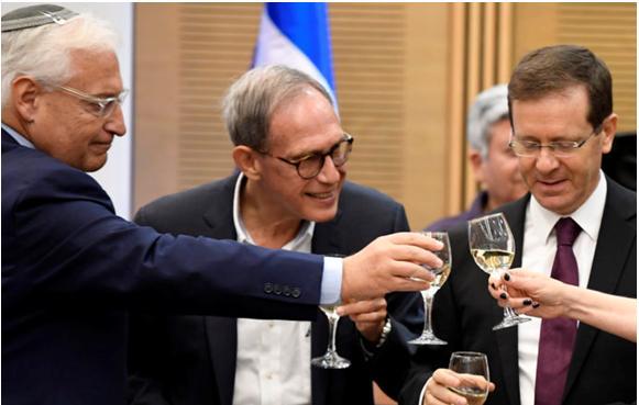 US Ambassador to Israel David Friedman, left, in the Knesset on Tuesday, July 25, with Labor MKs Nachman Shai and Yitzhak Herzog
