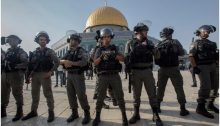 Israeli police stationed in the al-Aksa Mosque compound on Thursday, July 27