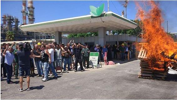 Angry Haifa Chemicals workers protest plant's closure.