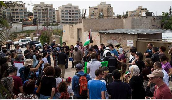 A joint Palestinian-Israeli demonstration in front of the Shamasna family home in occupied East Jerusalem, August 4, 2017