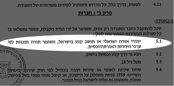 "Clause 5.1 of the Hiran cooperative association bylaws indicating that any candidate for residence must be ""Jewish Israeli citizen or permanent resident of Israel who observes the Torah and commandments according to Orthodox Jewish values."""