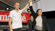 Salah Hamouri and Fadwa Barghouti, the wife of imprisoned Palestinian leader Marwan Barghouti, at the Fête de l'Humanité Communist daily newspaper near Paris in 2012.