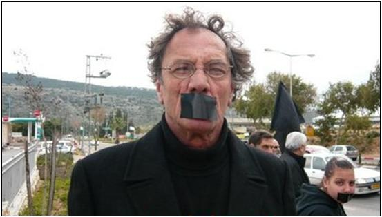 Mohammad Bakri during a Hadash and CPI protest against the war in Gaza, near Karmiel, in January 2009