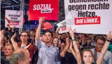Die Linke member during the recent electoral campaign in Germany