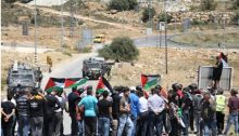 Palestinians hold the weekly demonstration against the occupation near an Israeli settlement adjacent to the village of Nabi Saleh in the West Bank, May 2017.