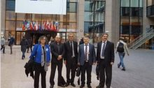 The Joint List delegation at the European Council; from left to right: MK Aida Touma-Sliman (Hadash), MK Masud Ganalim (Ra'am), MK Jamal Jamal Zahalka (Balad), MK Dr. Youssef Jabareen (Hadash), and chair of Mossawa, Jafar Farah.