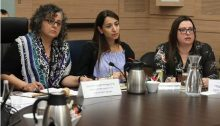 MK Touma-Sliman (left) during a meeting of the Knesset Committee for the Advancement of the Status of Women