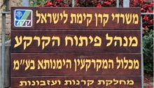 Sign posted outside the offices of the Himanuta subsidiary of the Jewish National Fund
