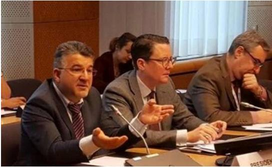 MK Jabareen during a meeting at the headquarters of the European Parliament when a delegation of Joint List MKs visited Brussels in November of this year