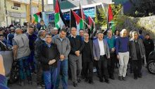 MK Yosef Jabareen (fourth from right) during the rally on last Friday, December 8, in Umm al-Fahm